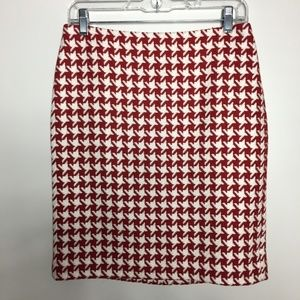 Talbots Wool Pencil Skirt Red Ivory Houndstooth 2